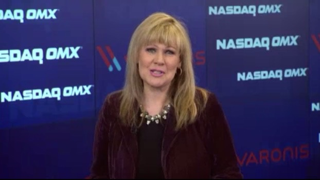 Carmen Roberts on set at the NASDAQ